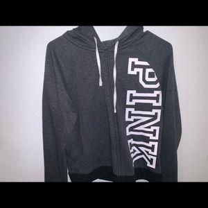 Grey Victoria's secret pink zip up jacket w/ hood